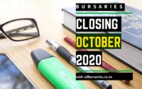 Bursaries Closing in October 2020