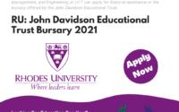 Rhodes University John Davidson Educational Trust Bursary